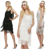 Costume Dress Women Ladies Gatsby Party Dress Tassels Glam Straps Dress Fringe Flapper