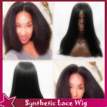 New Fashion Synthetic Wigs Kinky Straight Black Hair With Middle Part Cheap Synthetic Lace Front Wig Glueless For Black Women
