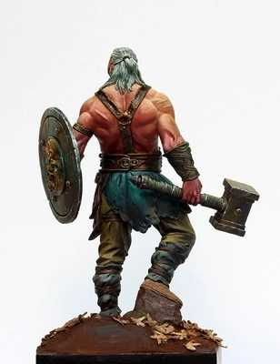 1/24 Scale 75MM Fantasy Movie Game Role Old barbarian Unpainted Resin Model  Kit Figure Free Shipping