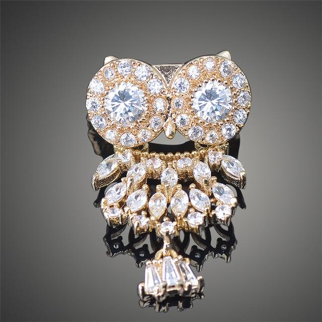 Mini Bonito Da Coruja Design de Luxo Muito Brilhante Cubic Zircon Broches Banhado A Ouro Broches de Casamento para As Mulheres X00120