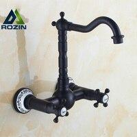 Antique Oil Rubbed Bronze Wall Mount Dual Handles Kitchen Mixer Faucet Tap Rotatable Spout Kitchen Faucet