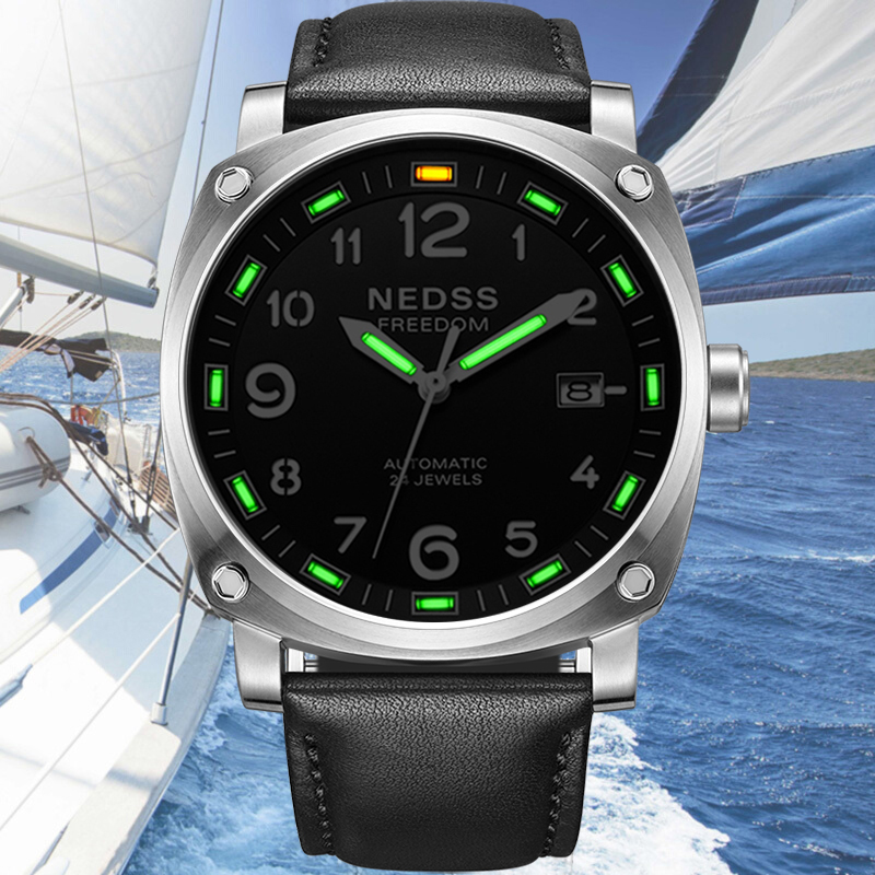 NEDSS Tritium Men Mechanical watches automatic watch leather strap sapphire male Army watches Luminous Hands 50M waterproof yelang v1015 upgrade version khaki number tritium gas green luminous men automatic mechanical business watch leather watchband