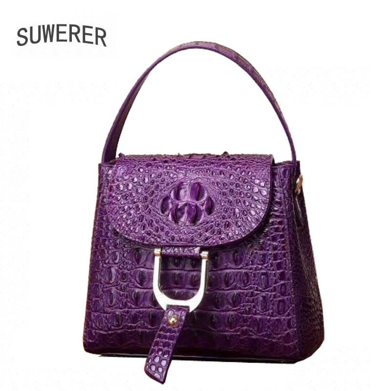 все цены на SUWERER 2018 New Women Genuine Leather bags Crocodile pattern fashion luxury handbag women bags designer women leather handbags онлайн