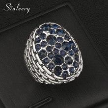 SINLEERY Vintage Volledige Donkerblauw Zirconia Grote Ovale Ringen Sieraden Voor Vrouwen Antiek Zilver Kleur Anel Maat 7 8 9 Jz158 SSC