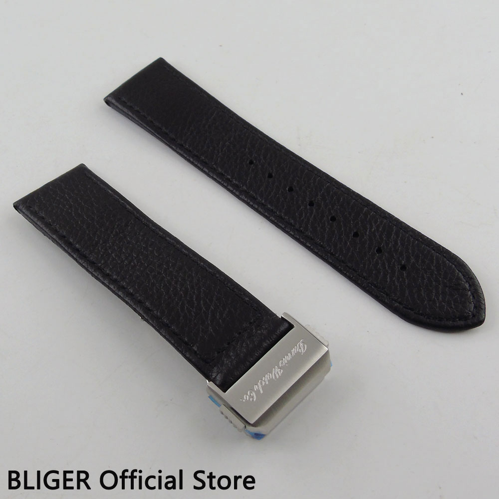 1PCS BLIGER 22MM Black Genuine Leather Strap Deployment Clasp Watch Band Stainless Steel Buckle Fit For Automatic Men's Watch S1