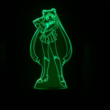 Tsukino Usagi Figure USB 3D LED Night Light Decoration Boys Child Kids Baby Gifts Japanese anime Sailor Moon Table Lamp Bedside twinkle dolly anime sailor moon tsukino usagi serenity luna black lady pvc action figure anime model kids toys doll 6cm 5pcs set