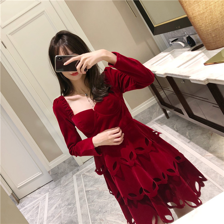 fall and winter 2018 new jujube red velvet dress with. Black Bedroom Furniture Sets. Home Design Ideas