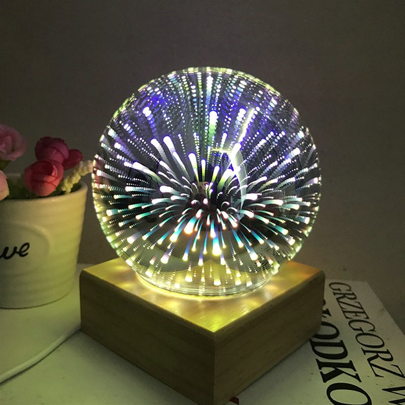 Solid wood colorful 3D magic ball projection lamp usb power supply bedroom bedside night light party star air atmosphere lamp