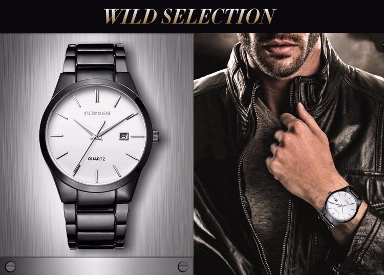 Curren 2016 Najlepsze Marki Biznesmenów Mężczyzna Luksusowy Zegarek Na Co Dzień Pełne stali Kalendarz zegarki Na Rękę zegarki kwarcowe relógio masculino 5