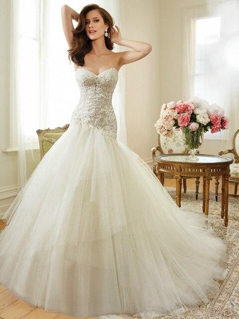 2015 Cap Sleeve Wedding Dresses Sweetheart Beaded Lace Heart Shaped