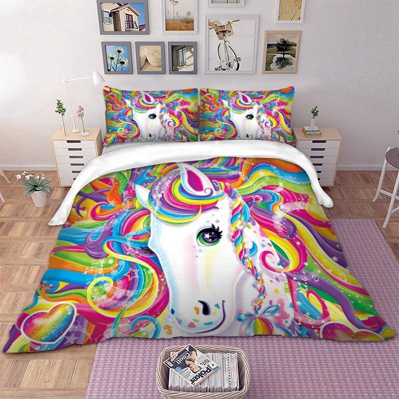 Juego de ropa de cama de unicornio colorido juego de ropa de cama doble reina rey Reino Unido tamaño 3D funda de edredón conjunto de ropa de cama para niños