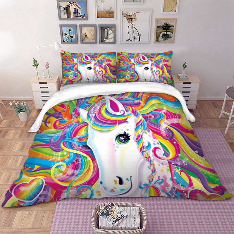 Unicorn Bedding Set Colourful Bed Linen Set Twin Full Queen King UK Double Size 3D Duvet Cover Set Kids Bedclothes Bed Cover