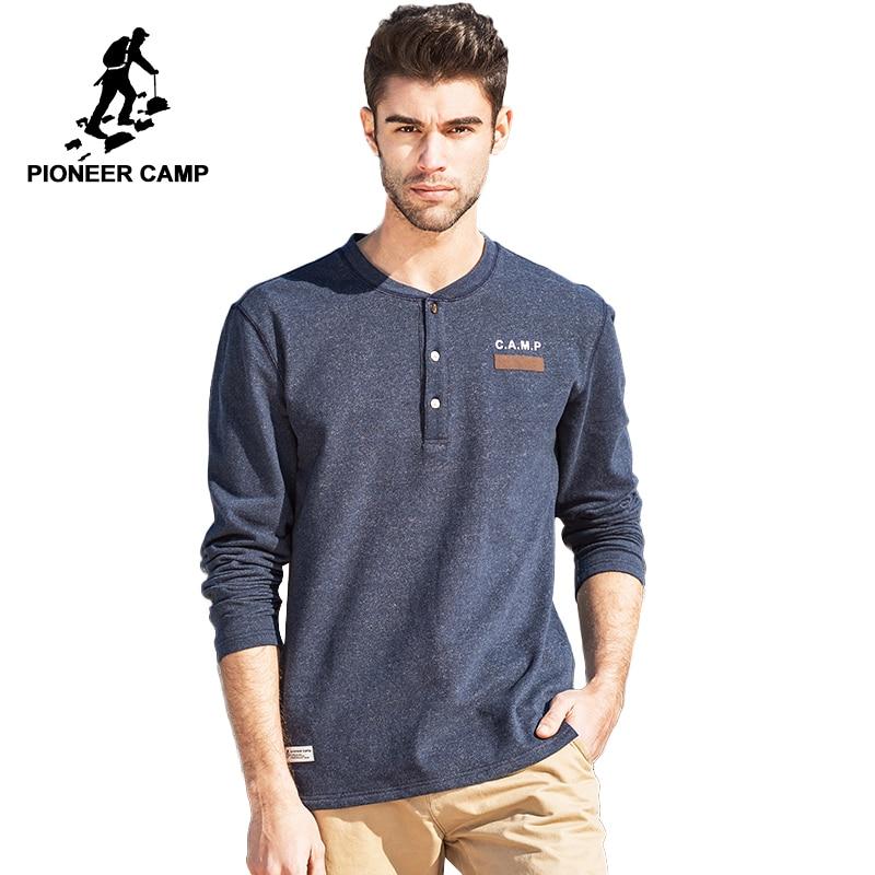 Pioneer Camp mens   t     shirt   brand clothing thick   T  -  shirt   male cotton comfortable top quality elastic soft Tshirt 622013B