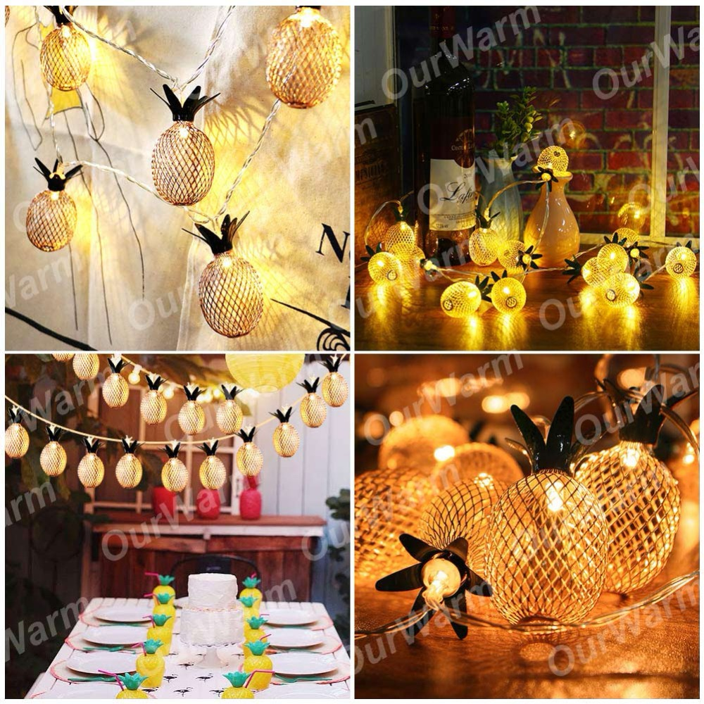 OurWarm Glow Party Supplies 1.6M Pineapple Party Lights Hawaiian ...