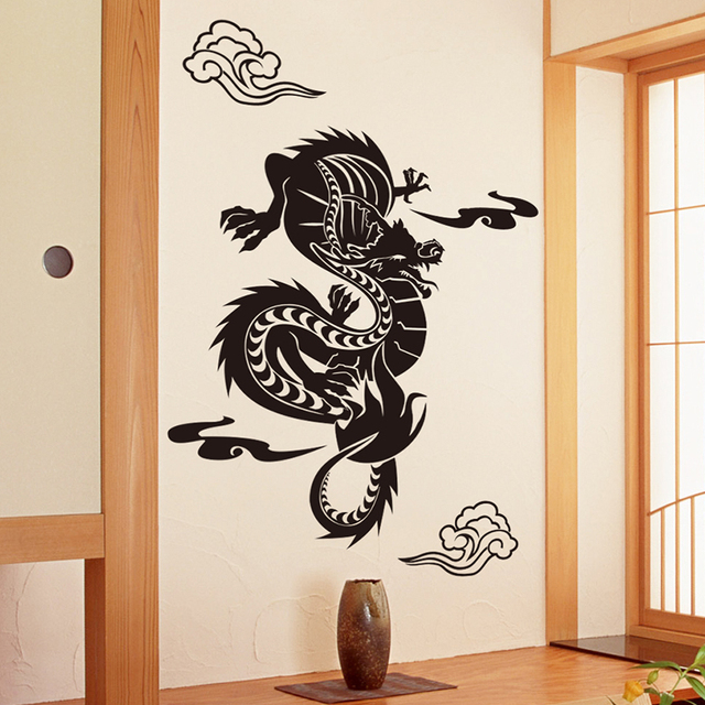 [SHIJUEHEZI] Customized Chinese Dragon Wall Sticker Vinyl DIY Animal Totem Wall  Art For Living