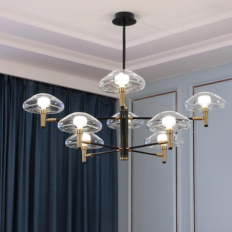 Nordic Post modern Jellyfish Pendant Lights Glass Wrought Iron Pendant Lamp Minimalist Luxury Lamp for Living