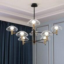 Nordic Post-modern Jellyfish Pendant Lights Glass Wrought Iron Pendant Lamp Minimalist Luxury Lamp for Living Dining Room Hotel