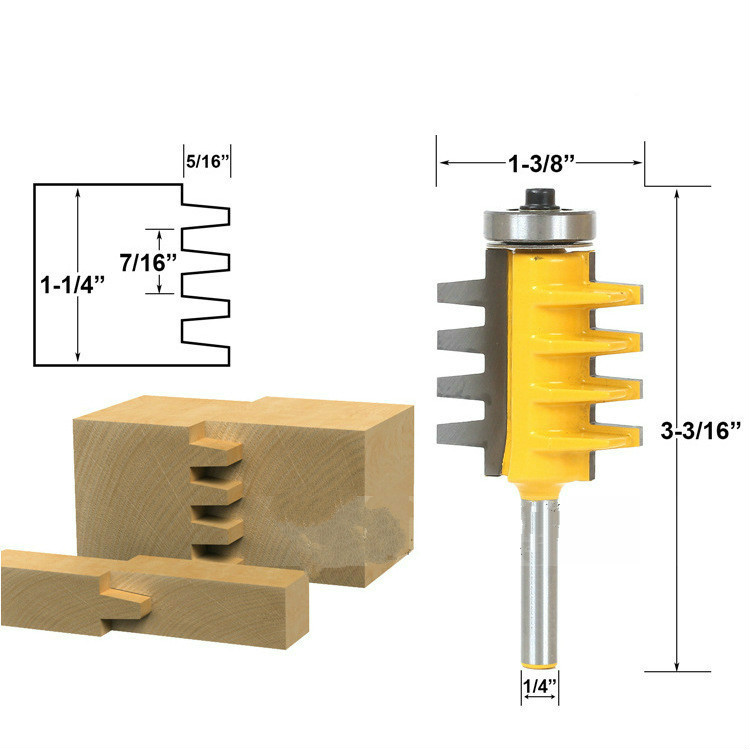 1PC 1/4 Inch Shank Rail and Stile Finger Joint Glue Router Bit Cone Tenon Woodwork Cutter Power Tools 1pc rail finger joint glue router bit 1 2 1 4 shank cone tenon milling cutters for wood cutter woodworking tools