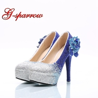 High Heel Shoes Handmade Royal Blue with Silver Rhinestone Wedding Dress Shoes with Crystal Lover Big Size 45 Bride Dress Shoes