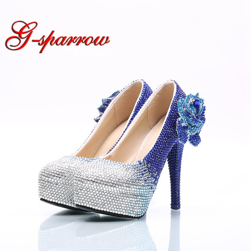 High Heel Shoes Handmade Royal Blue with Silver Rhinestone Wedding Dress Shoes with Crystal Lover Big Size 45 Bride Dress Shoes fashion big flowers pink bride high heeled shoes waterproof taiwan fine with hollow wrist dress shoes wedding shoes sandals