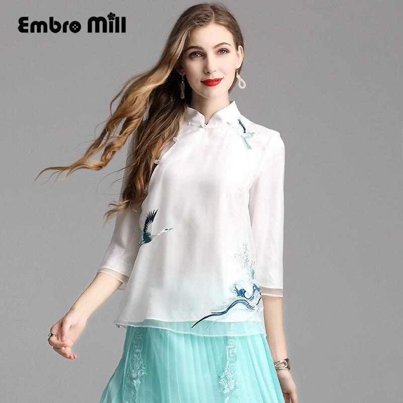 Broderie floral vintage blouse chemise style chinois été 3/4 manches mode femmes lâche petit haut S-XXL