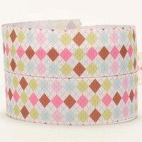 NEW sale 50 yards colorful Square pattern printed grosgrain ribbon DIY handmade