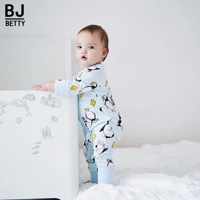 3efa86f25 Newborn Baby Boy Clothes Infant Romper Long Sleeve Penguin Print ...