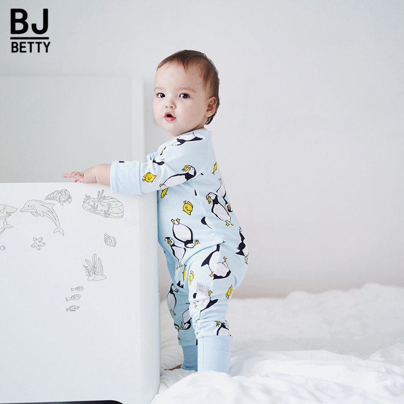 Newborn Baby Boy Clothes Infant   Romper   Long Sleeve Penguin Print Baby Girl   Rompers   Jumpsuit Pajamas Baby Clothing BBR208
