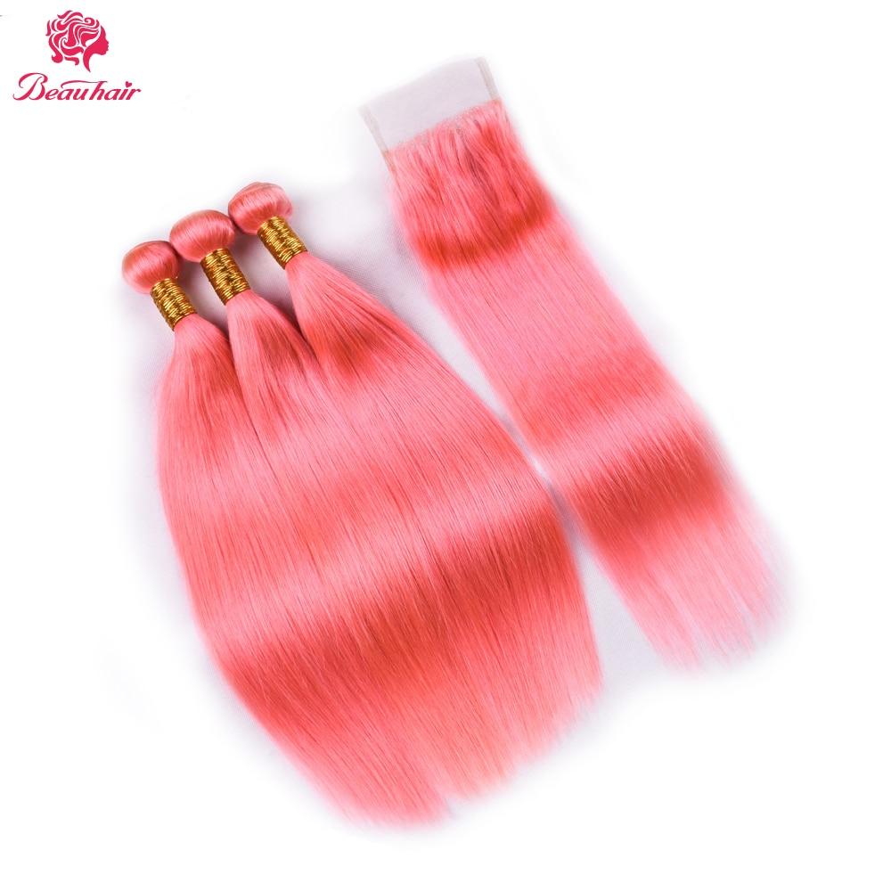 Pink Color 3 Bundles With Lace Closure Straight Hair Light Red Color Human Hair Bundle With Closure Brazilian Hair Weave Bundles