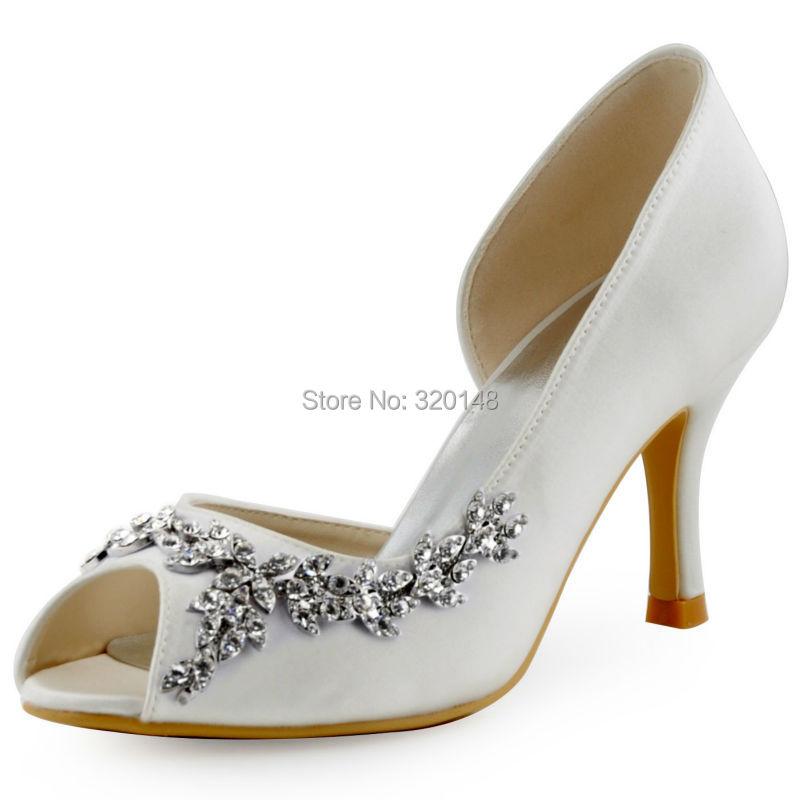 ФОТО New Arriaval HP1542 White Peep Toe Women Wedding Shoes Rhinestones Buckle High Heels Satin Bridal Shoes