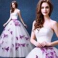 Сексуального без бретелек рукавов свадебное платье 2016 фиолетовый бабочка сладкий принцесса невеста нежный бальное платье тюль свадебное платье