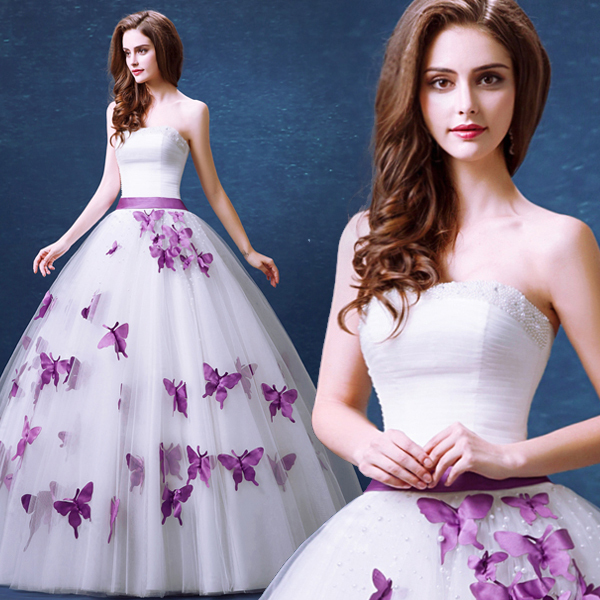 Y Strapless Sleeveless Wedding Dress 2016 Purple Erfly Sweet Princess Bride Delicate Ball Gown Tulle