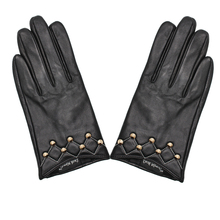 Women's Genuine Leather Gloves Female Keep Warm Autumn Winter Fashion Rivet Black Sheepskin Driving Mittens NEW 2019 TB16 джемпер детский adidas core18 sw top y цвет синий cv3968 размер 128