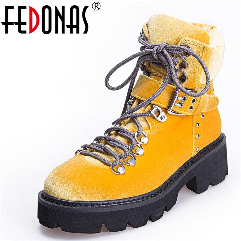 FEDONAS 1Fashion Women Ankle Boots Autumn Winter Warm Luxury Velvet High Heels Shoes Woman Round Toe Cross-tied Motorcycle Boots недорго, оригинальная цена