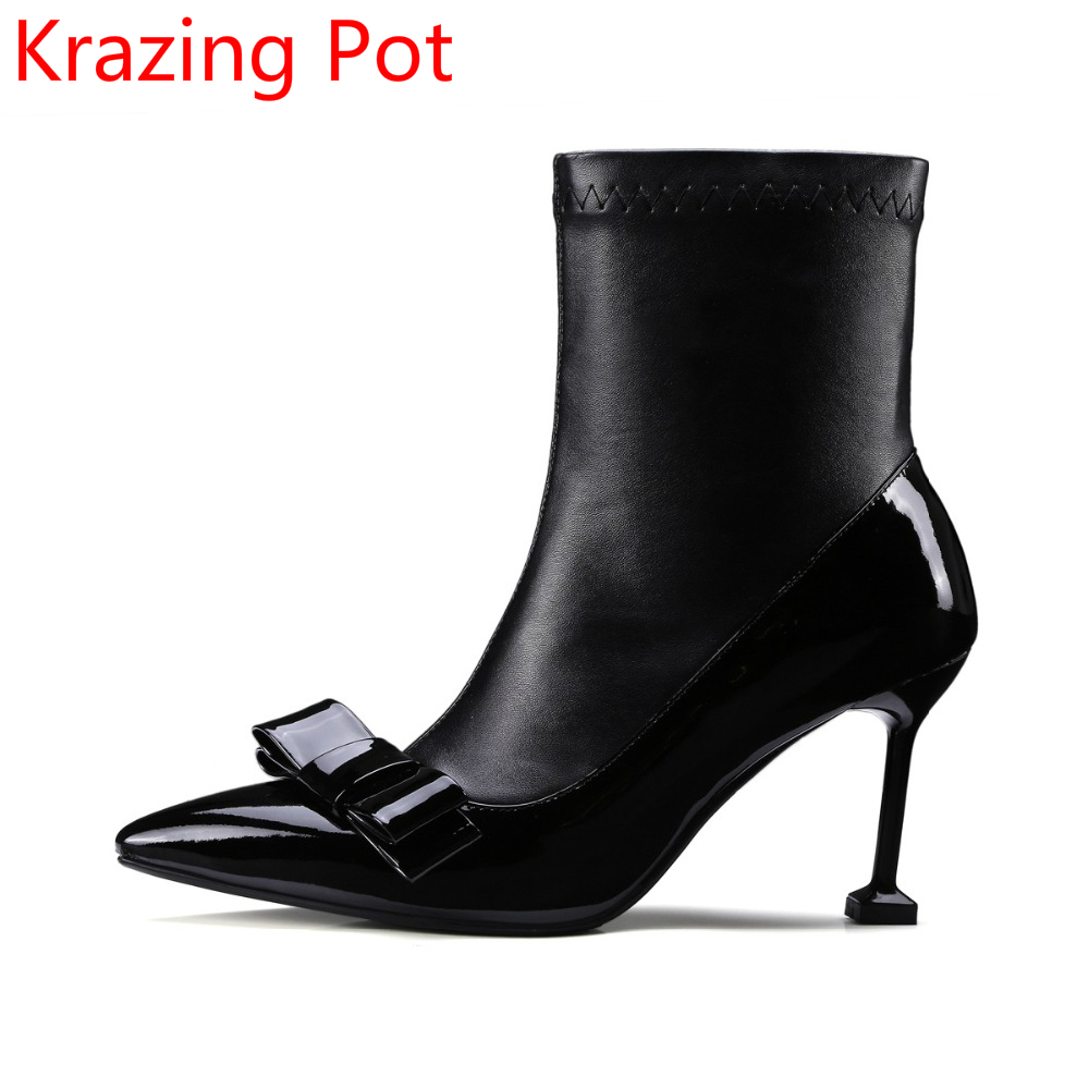 Superstar Cow Leather Thin High Heels Wedding Winter Shoes Pointed Toe Bowtie Fashion Chelsea Boots Designer Mild-calf Boots L83 trusify 2017 ohappropriate cow leather mid calf zip pointed toe high thin heels solid buckle fashion womens boots with heels