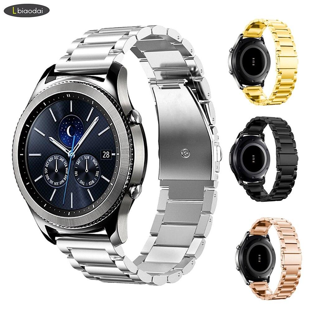 22mm Strap For Galaxy Watch 46mm Samsung Gear S3 Frontier Band Stainless Steel Metal Bracelet Huawei Watch GT Strap Gear S 3 46