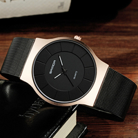 2018 New SANDA Mens Watches Top Brand Rose Gold Steel Mesh Quartz Watch Fashion Business Male