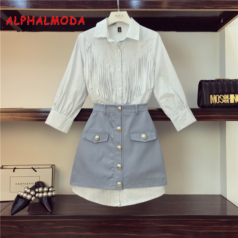 ALPHALMODA New Fashionable Fringed Shirt Dress + Denim Skirt 2pcs Set High Waist A-line Button Skirt Ladies Trendy 2pcs Set