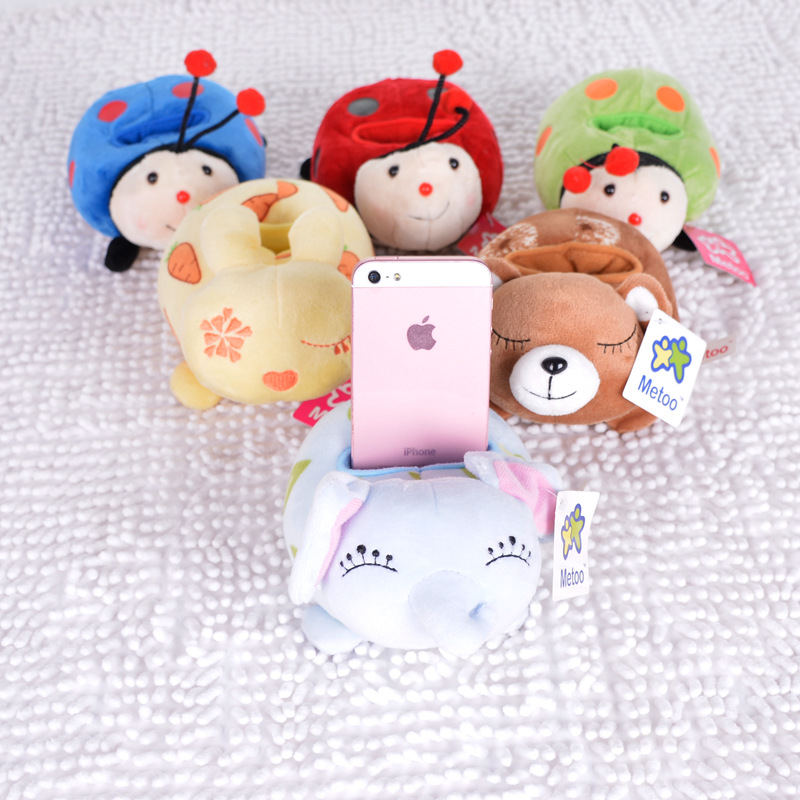 New Cute Plush Mobile Phone Seat Kids Children Mini Stuffed Dolls Baby Cartoon Ladybug Bear Soft Toys Grownups Accessories Metoo