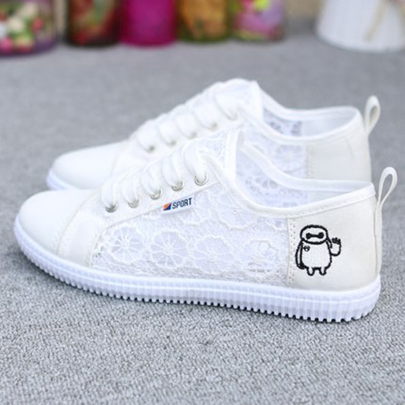 Summer Women Shoes Casual Cartoon Lace Canvas Shoes Mesh Floral Breathable Platform Flat Shoe White Black zapatos mujer dreamshining summer women shoes casual cutouts lace canvas shoes hollow floral breathable platform flat shoe sapato feminino