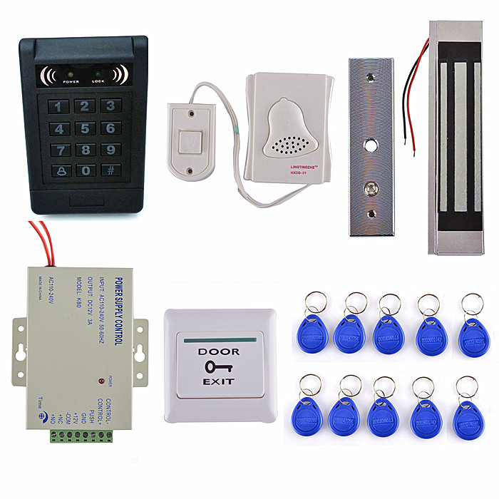 300LBS Magnetic Lock+ Door Switch + 125KHz RFID ID Access Control keypad System diysecur magnetic lock door lock 125khz rfid password keypad access control system security kit for home office