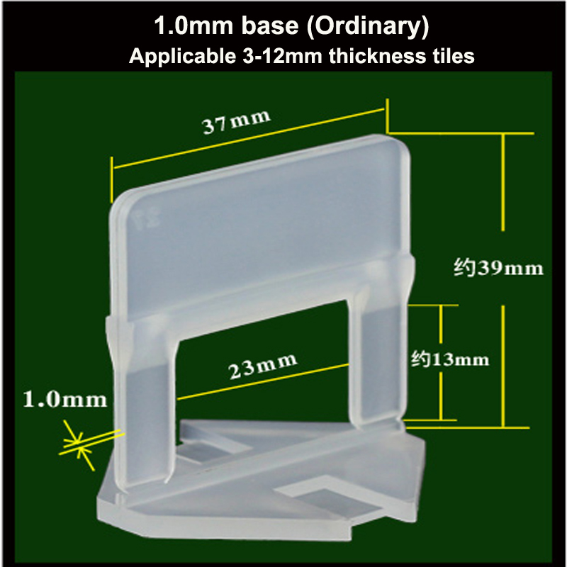 100pcs Environmentally Friendly New Material 1.0mm Tile Leveling System Clips/Base Apply To 3-12mm Thickness Tiles