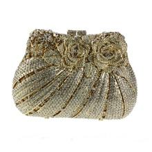 2017 goldene Kristall Clutch Handtaschen Frauen Berühmte Marken Hohe Qualität Kristall Abendtaschen mit Schulter Kette Partei Kupplung