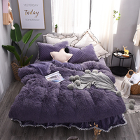 Purple White Princess Bedding Sets Twin Queen King size Luxury Bed set Bed Skirt Duvet Cover Bedspread Bed Linen Pillowcase
