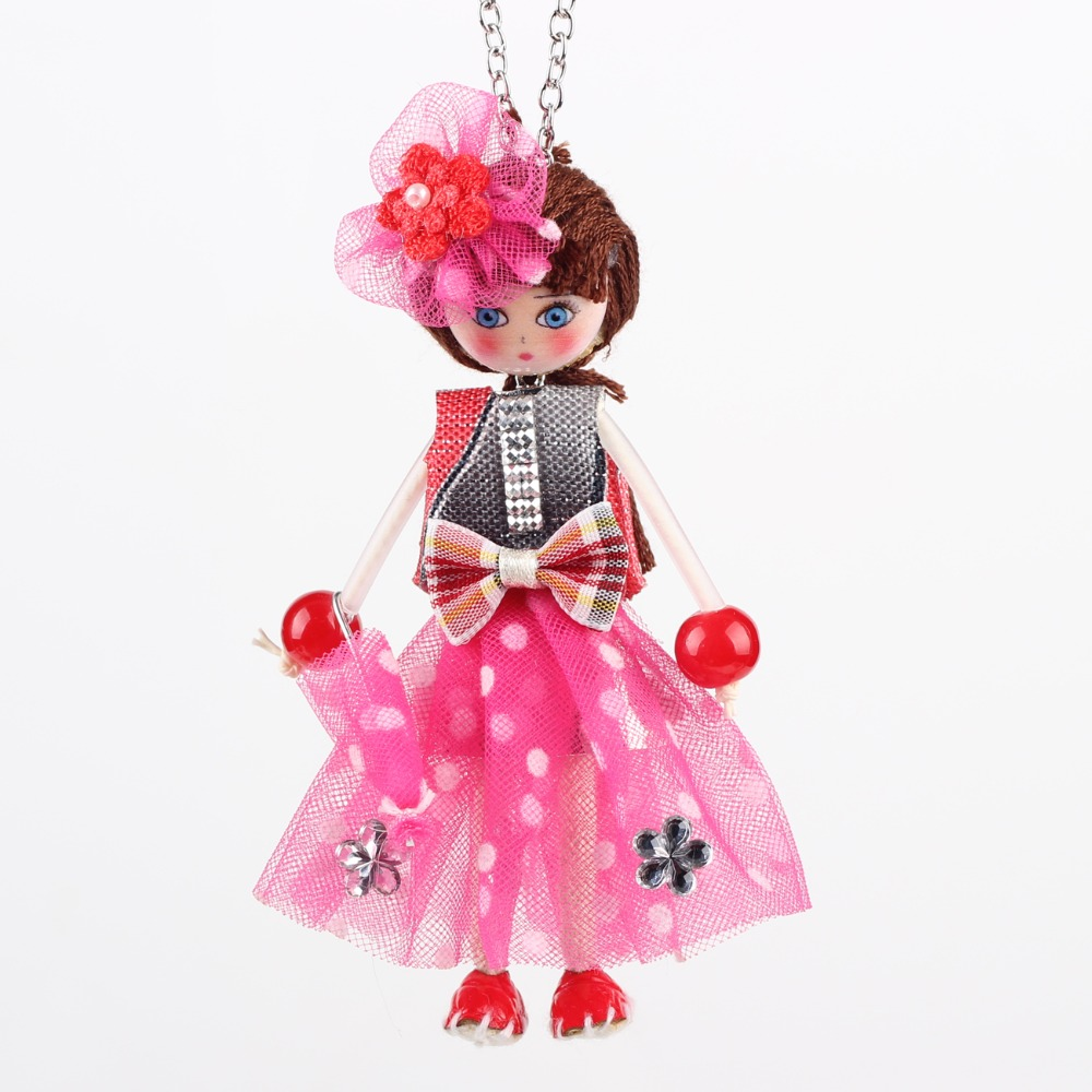 Bonsny Handmade Doll Necklaces French Statement Cloth Long Chain Pendant 2015 New Spring Style Jewelry for Women Accessories