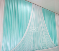 3*6M Tiffany Blue Ice Slik Wedding&Party Backdrop Curtain With Beauty Tulle Swag Background Stage Event Party Decorations