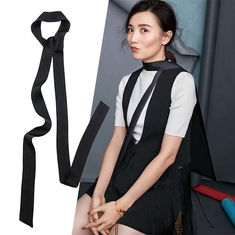 Langen Seidenschal Street Fashion Krawatte Tasche Griff Riband Dünne Schal Streifen Mehr Funktion Kleine Schals Solide CS3 Drop Shipping