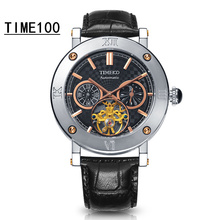 Top Quanlity Men's Automatic Mechanical Brand Watch Black Leather Strap Original Gift Wrist Watch Sport Business Watches W0787