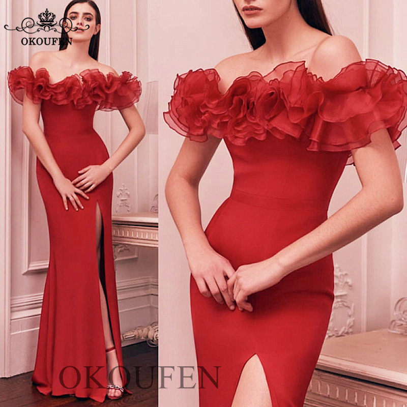 Ruffles Off Shoulder Long   Bridesmaid     Dresses   For Women 2019 Red Sexy Side Split Mermaid Wholesale   Dress   Wedding Party Gown