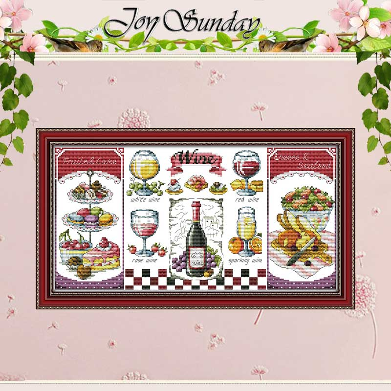 Red Wine And Desserts Counted Cross Stitch 11CT 14CT Cross Stitch Set Wholesale DIY Cross-stitch Kit Embroidery Needlework